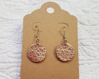 Genuine Leather Dot Earrings in Metallic Rose Gold
