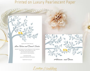 Printed tree wedding invitations and RSVP cards | Elegant gray wedding invitation sets | Bird wedding invitations | Discount invitations