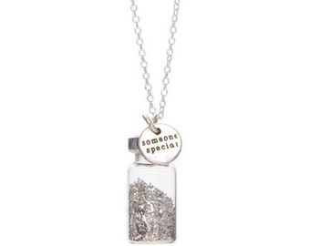 SOMEONE SPECIAL silver Vintage Glitter treasure bottle charm necklace