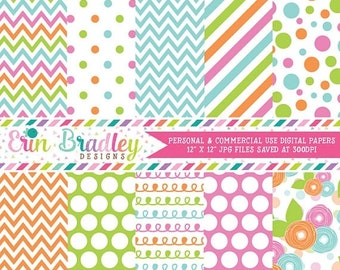 80% OFF SALE Instant Download Digital Paper Pack Pink Green Blue & Orange Chevron Stripes Flowers Polka Dots and Doodles Commercial Use