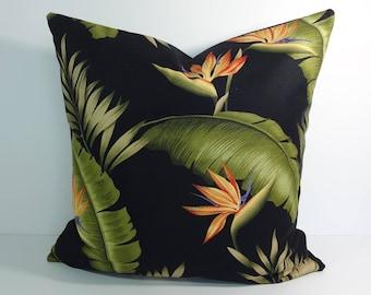 Tropical Print Decorative Pillow Cover, Hawaiian Throw Pillow Cushion, Birds of Paradise. 20 x 20. 16 x 16, 12 x 20