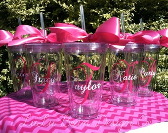 1 Personalized Monogrammed Bride and Bridesmaid Acrylic Double-Wall BPA-free Tumblers