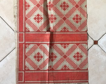 Square Geometric Red & Beige off white Original 19th Century Handpainted Textile French Art Design Embroidery Design Paper Anniversary Gift