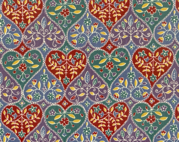 Parallel hearts poly/ cotton fabric, sold by ( multiple lengths)  #256PC