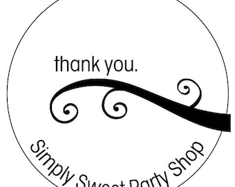 business thank you stickers, custom thank you labels, business thank you labels, 3 sizes available