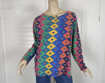 90s Diamond Print T-shirt in Jewel Tones- 1990s Vintage Harlequin, Club, Clown, Funky Fresh- Long Sleeve Tee