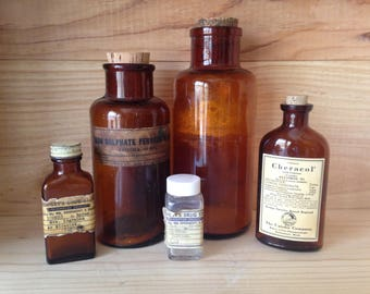 Lot of 5 Apothecary Bottles