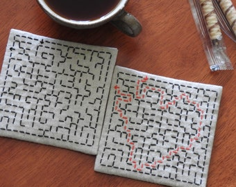 Sashiko Maze Coaster Set - Heart