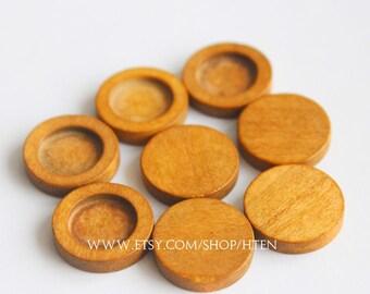 20pcs 12mm light coffee wood Pendant Blank Round Pendant Setting wood trays - wood pendant blank - 12mm wood pendant base - wood Bezel Cup