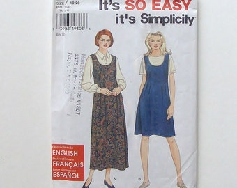 Simplicity Misses' Jumper Pattern #7285 - UNCUT and Factory Folded - Sizes 10+12+14+16+18+20