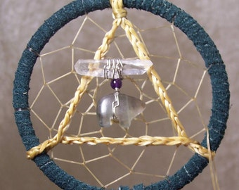 SERENITY BEAR - 3 Inch Dreamcatcher in Teal and Purple by Feathered Dreams