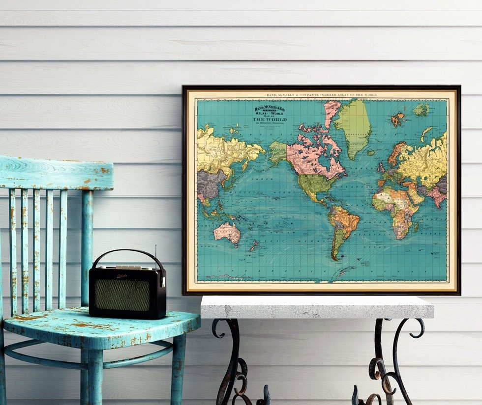 Vintage world map - Antique world map print - Old map of the world - Archival world map print on paper or canvas