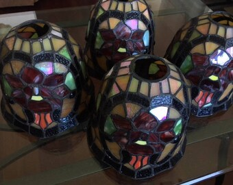 Vintage Quoizel stained glass lamp shade chandelier sconce light shade (4)