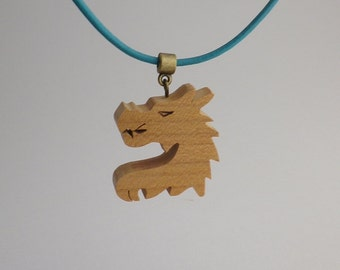 dragon wood and leather pendant