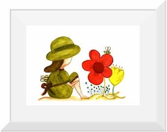 Art Print titled 'Bee Happy', Nursery Art, Nursery Decor, Little Girls Room Decor, Bees, Summer,
