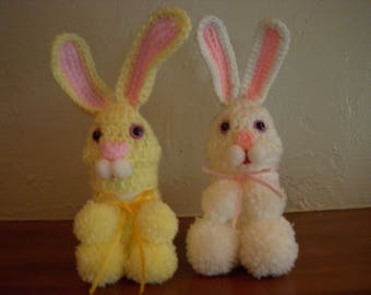 Vintage Crocheted Easter Bunnies, One White and One Yellow, Candy Containers