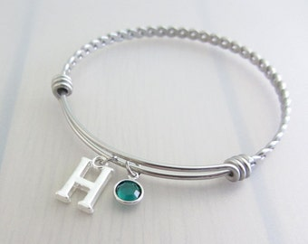 Letter Charm Stainless Steel Bangle, Birthstone Initial Bangle, Personalised Silver Letter Bracelet, Birthstone Crystal Bangle, Name Gift