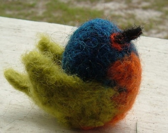 Knit and Felted Painted Bunting - Mini Bird Series