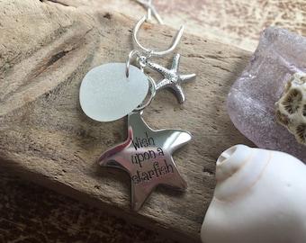 White seaglass, starfish/wish upon a starfish pendant