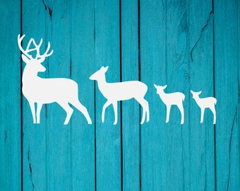 Deer Family Car Decal | Family Car Decal | Buck Does Fawns Vinyl Car Decal