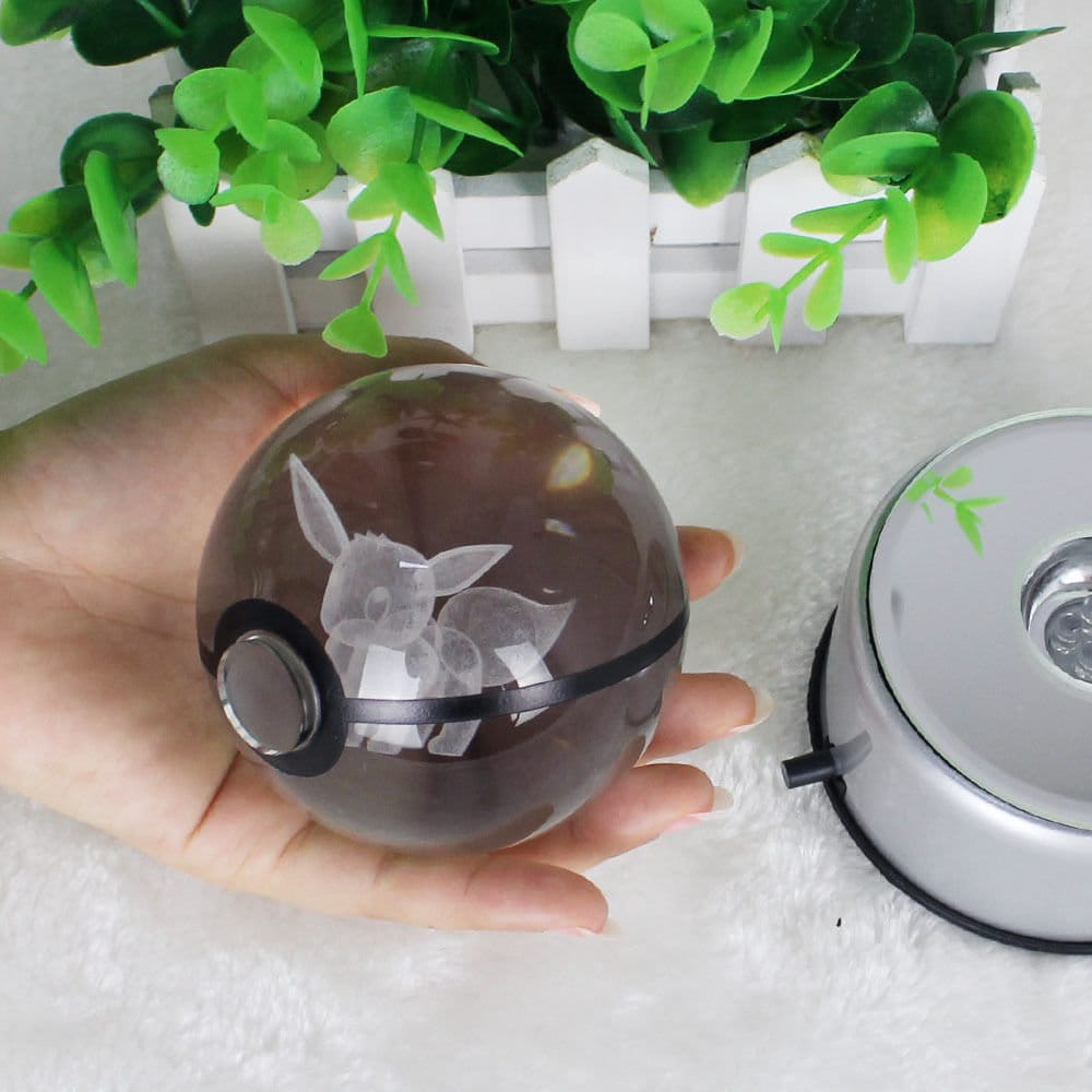 Image of 12 to Choose From! Crystal Pokeball, Pokemon Inspired 3D Laser Engraved Glass, Personalized Gift for Him/Her (w/ LED Base) / GIFT