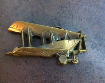 Vintage Airplane Buckle - 1978 Baron Buckle - Solid Brass Belt Buckle - Gift for the Aviator