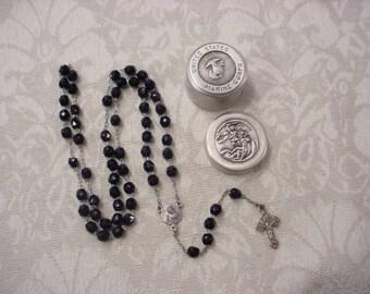 US Marine Corps Air Force Army Coast Guard Navy Military Case Box w/ Black Swarovski Crystal Rosary United States Catholic Set