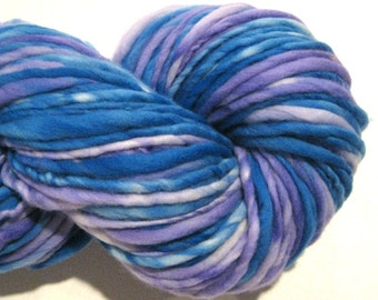 Super Bulky Handspun Yarn Lavender's Blue 148 yards hand dyed merino wool purple yarn waldorf doll hair knitting supplies crochet supplies