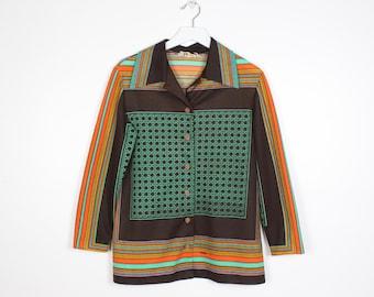 Vintage 1970s Shirt Brown Green Orange Yellow Striped Trissi Shirt 70s Mod Hippie Smock Tunic Woven Pattern Long Sleeve Collared M Medium L