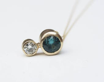 Blue zircon and moissanite pendant;  gold slider pendant ;December birthstone necklace
