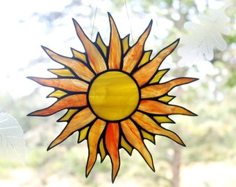 Stained Glass Sun, Suncatcher, Glass Art, Window Decor, Handmade Glass Sun Catcher, Yellow Orange Suncatchers, Stained Glass Window Panel