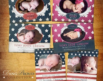 Baby Birth Announcement - PSD Template Set - Dang Proud - Military/Patriotic