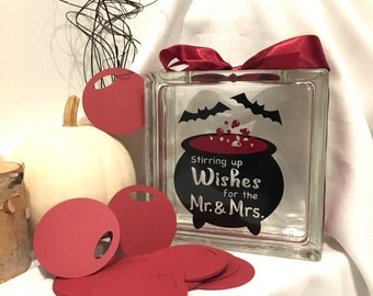 Halloween Wedding Guest Book Wish Jar ! Stirring up Wishes for the Mr & Mrs - Witches Caldron - Dark Red Bubbles - Black Bats