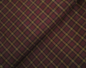 Plaid Material | Cotton Homespun Material |  Wine, Black and Khaki Large Plaid Material | Rag Quilt Material | Cotton Sewing Material