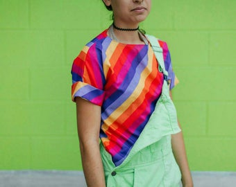 Bright Rainbow Rolled Sleeve Striped Top