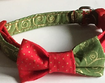 Red & Green Christmas Bow Tie Collar for Male Dogs and Cats