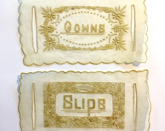 "Antique Linens Tags for ""Slips and Gowns"", Ca: 1915."