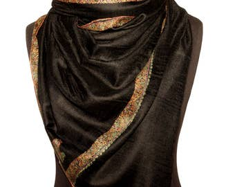 Beautiful Black handmade embroidered Pashmina Scarf/wrap/Party favors/bridesmaid gifts/Infinity scarf/baby cashmere wrap/wedding favors/