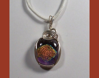 DICHROIC GLASS PENDANT - Multi Colored Rainbow - Sterling Silver Wire Wrap - Made In Maine