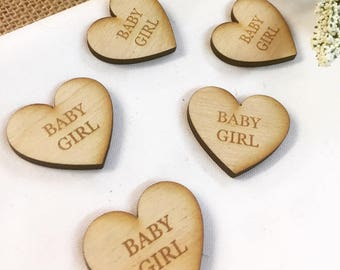 Baby Girl Wood Rustic Engraved Laser Cut Table Decoration Hearts Pack/Bag of 50