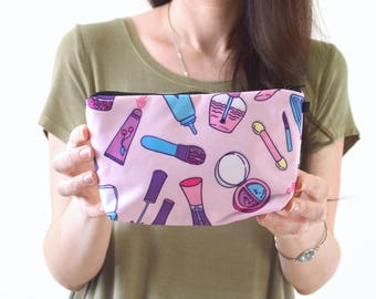 "Facial Care Print Zippered Cosmetic Bag, Make-up Bag, Toiletry Bag, Pouch - 8"" x 5.5"""