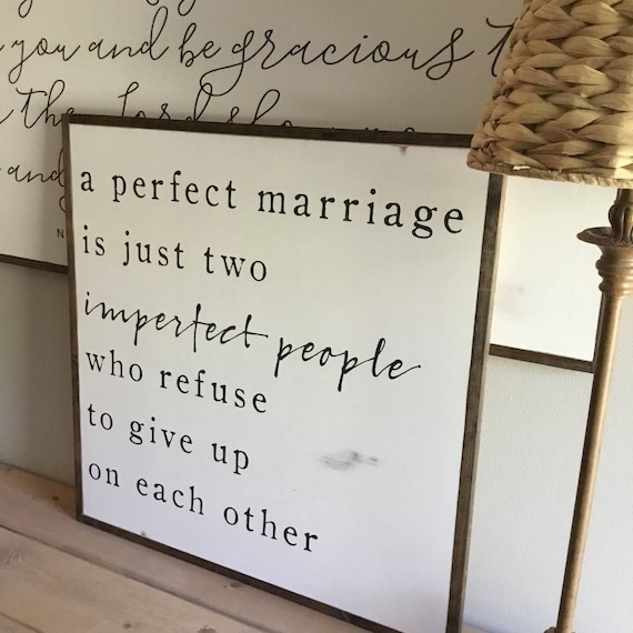 A PERFECT MARRIAGE 2'X2'   distressed painted wall plaque   shabby chic farmhouse decor   framed wall art   master bedroom decor