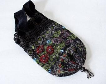 1900s vintage purse / antique beaded purse / black floral reticule