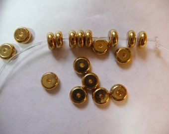 Bead, Gold Plated, Brass, 6mm Heishi, Pack Of 12 beads.
