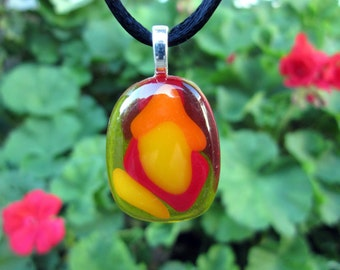 Fused Glass Necklace, Summertime Fantasy, Orange and Red Glass Pendant, Valentine's Day Necklace, Mothers Day Glass Jewelry