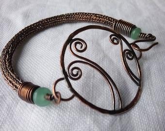 Earthy Boho Spring Fern bracelet Green Aventurine Recycled Copper Freya Earthy Boho Hippy Chic
