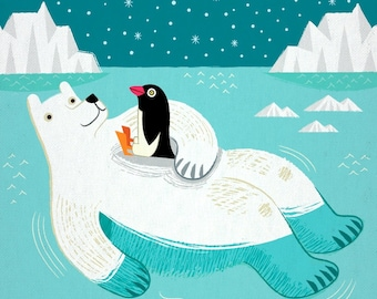 Hitching A Ride - Polar Bear - Penguin - Animal Art - Children's art - Children's Decor - Art Poster Print by Oliver Lake iOTA iLLUSTRATiON