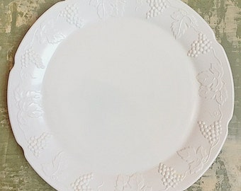Vintage Mid Century Indiana Glass Colony Harvest Milk Glass Large Torte Plate or Platter