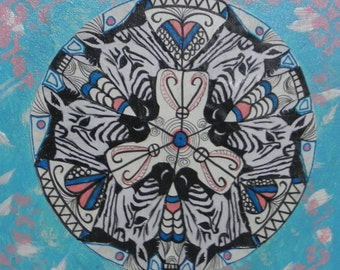 Mandala zebra art original kaleidoscope design on painted canvas 12x12