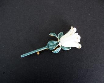 Vintage Sandor Single Enamel Flower Brooch/Pin